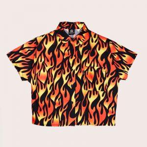 Camisa Crop Black Flames