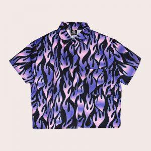 Camisa Crop Purple Flames