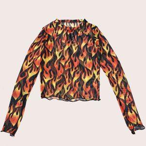 Crop Mesh Black Flames