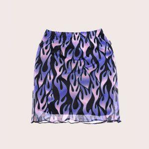 Falda Mesh Purple Flames